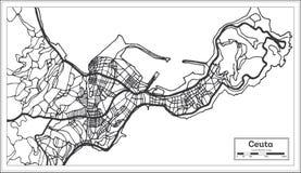 Color blanco y negro del iin del mapa de la ciudad de Ceuta España Ejemplo blanco y negro del vector