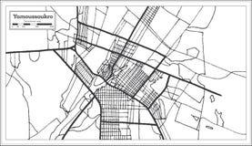 Color blanco y negro del iin del mapa de la ciudad de Costa de Marfil de Yamoussoukro Ejemplo blanco y negro del vector