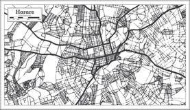 Color blanco y negro del iin del mapa de la ciudad de Harare Zimbabwe Ejemplo blanco y negro del vector
