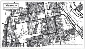 Color blanco y negro del iin del mapa de la ciudad de Jartum Sudán Ejemplo blanco y negro del vector