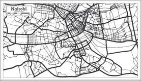 Color blanco y negro del iin del mapa de la ciudad de Nairobi Kenia Ejemplo blanco y negro del vector