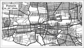 Color blanco y negro del iin del mapa de la ciudad de Pretoria Suráfrica Ejemplo blanco y negro del vector