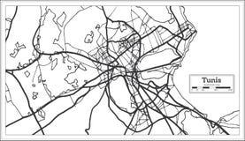 Color blanco y negro del iin del mapa de la ciudad de Túnez Túnez Ejemplo blanco y negro del vector