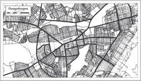 Color blanco y negro del iin del mapa de la ciudad de Uagadugú Burkina Faso Ejemplo blanco y negro del vector