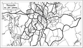 Color blanco y negro del iin del mapa de la ciudad de Yaounde el Camerún Ejemplo blanco y negro del vector