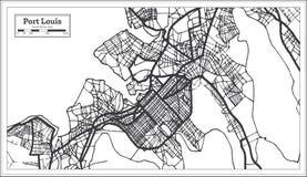 Color blanco y negro del iin portuario de Louis Mauritius City Map Ejemplo blanco y negro del vector