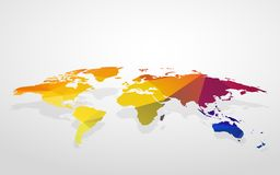 Color blank world map fake 3D. Modern style color blank world map fake 3D royalty free illustration