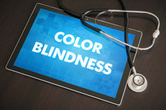 Color blindness (genetic disorder) diagnosis medical concept on. Tablet screen with stethoscope stock image