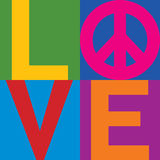 Color Block LOVE=Peace. Type design of LOVE with Peace Symbol in a stacked color-block design Stock Photography