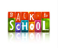 Color blocks with back to school text. Vector