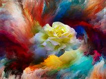 Color Bloom. Blooming rose in swirl of colorful paint as backdrop for subject of art, creativity and imagination. Custom background series vector illustration