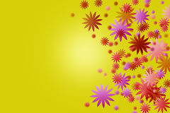 Color blooms on yellow background. Stock Photography