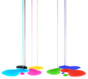 Color blots. CMYK and RGB inks flow into blots. Isolated on white Stock Photos