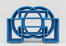 Color blue bookshelf circle vector illustration
