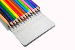 color blyertspennan Arkivfoto