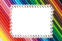 Color blyertspennor som bildar en ram Arkivfoto