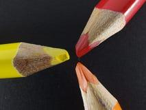 color blyertspennor tre Fotografering för Bildbyråer