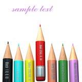 color blyertspennor vita Arkivbilder