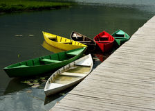 Color boats. Color boat on Plav's Lake in Montenegro Stock Image