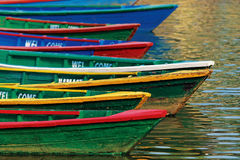 Color boats on Phewa lake Royalty Free Stock Photo