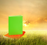 Color Books in grass fields and sunset Royalty Free Stock Image