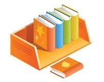 Color books on shelf Stock Photo