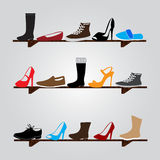 Color boots on shelf eps10 Royalty Free Stock Photography