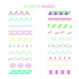 Color borders. Set of different decorative elements royalty free illustration