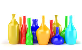 Color bottles. Color abstract concept bottles on white Royalty Free Stock Photography
