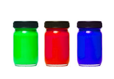 Color bottles. Color bottle of green, red, and blue stock photo