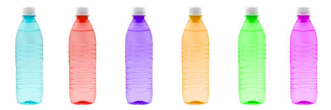 Color bottles in row Royalty Free Stock Photography