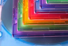 Color boxes for compact disc Stock Photo
