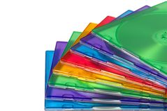 Color boxes for computer compact disc. Isolated over white Stock Photography