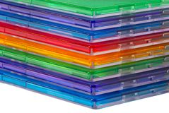 Color boxes for computer compact disc. Isolated over white Stock Photos