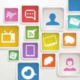 Color boxes with media icons. Abstract background of color boxes with media icons Stock Images