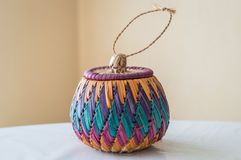 Color braided bamboo basket Royalty Free Stock Images