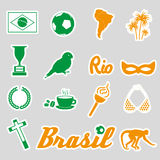 Color brazil stickers and symbols set eps10 Stock Photos