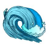 Color Breaking Tropical Sea Marine Wave Storm Vector. Breaking Tropical Sea Marine Wave Storm Vector. Giant Foamy Water Wave Tunnel For Coastline Extreme stock illustration