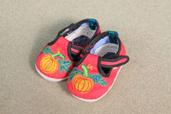 Color bright children shoes Stock Photos