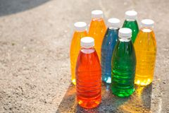 Color, bright creative background. Colored bottles Stock Photo