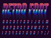 Font style 80 s. Color, bright font in the old style. Vector, vintage alphabet. Style 80 s, 90 s retro posters. Color gradient vector illustration