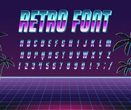 Font style 80 s. Color, bright font in the old style. Vector, vintage alphabet. Style 80 s, 90 s retro posters. Color gradient royalty free illustration
