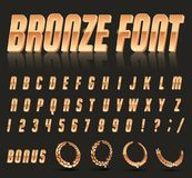 Font style 80 s. Color, bright font in the old style. Vector, vintage alphabet. Style 80 s, 90 s retro posters. Color gradient. Bronze font stock illustration