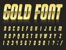 Font style 80 s. Color, bright font in the old style. Vector, vintage alphabet. Style 80 s, 90 s retro posters. Color gradient. Gold font stock illustration