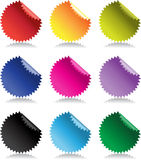 Color bright glossy stickers with reflection Royalty Free Stock Photo