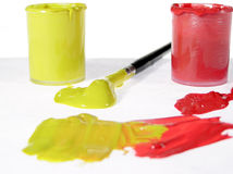 Color and brush. In red yellow depicting Stock Photography