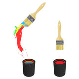 Color Brush and Bucket. Brush painting colorful rainbow colors over bucket containing rainbow color inside Royalty Free Stock Image