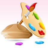 Color Brush and Pallet with Painter Cap Stock Photography