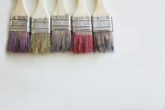 Color brushes on the desk Royalty Free Stock Images