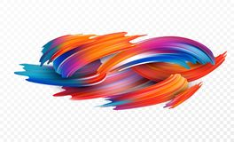 Color brushstroke oil or acrylic paint design element for presentations, flyers, leaflets, postcards and posters. Vector royalty free illustration